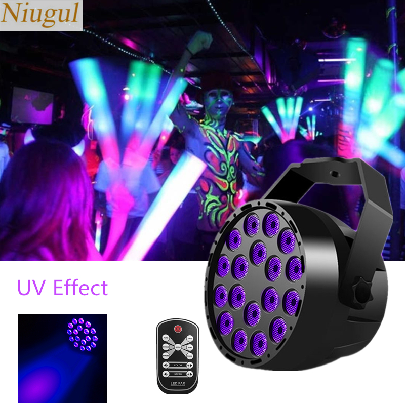 18X3W LED Disco UV Violet Black Light DJ Par Lamp UV For Party Christmas Lamp Stage Wall Washer Spot Light Ultraviolet Backlight
