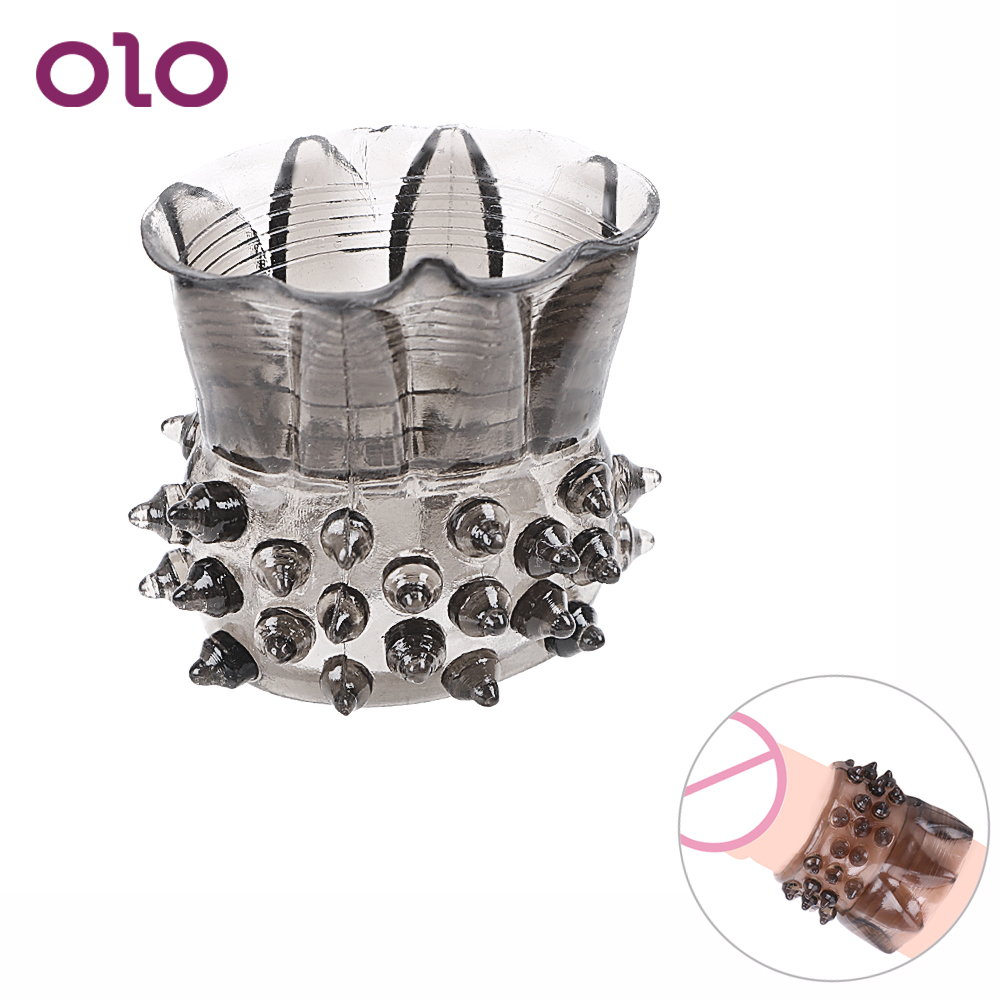 OLO Clitoris Stimulation Male Penis Ring Cock Ring Extender Delay Ejaculation Penis Sleeve Silicone Sex Toys For Men