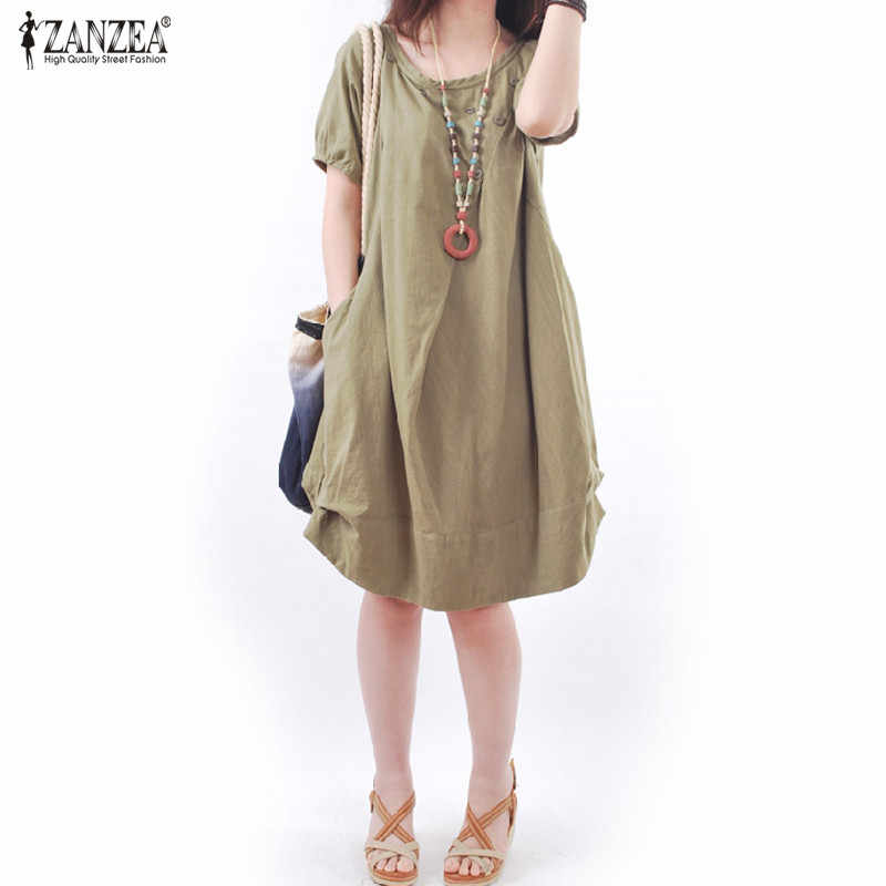 c80976636ac1 ZANZEA Women Vintage Linen Dress 2019 Summer Female O-neck Short Sleeve Casual  Loose Shirt