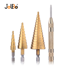 Jelbo 3PCS 4-12/4-20/4-32mm HSS Titanium Step Drill Bit Set With Semi-automatic Center Punch Drilling Tool For Woodworing все цены