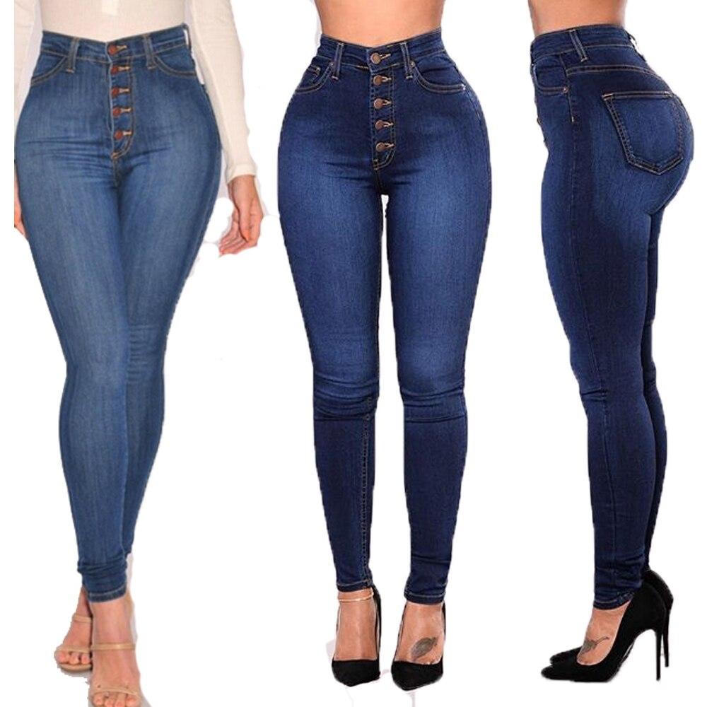 Women's Fashion High Waist Simple Design Cotton Elastic Slim Plus Size Sexy Five Buttons Pencil Pants Women Trousers S-4XL
