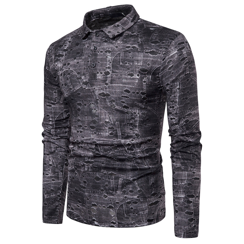 114ba39605991a0 Горячая Распродажа Мужская рубашка мужская Осень Повседневная мода Slim Fit  Хлопок v-образный вырез мужские рубашки с длинным рукавом рубашка .