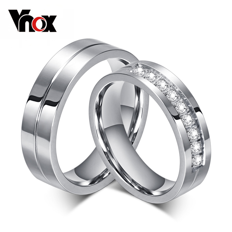 Vnox Engagement-Rings Wedding-Band Couples Anniversary 316l-Stainless-Steel Personalized