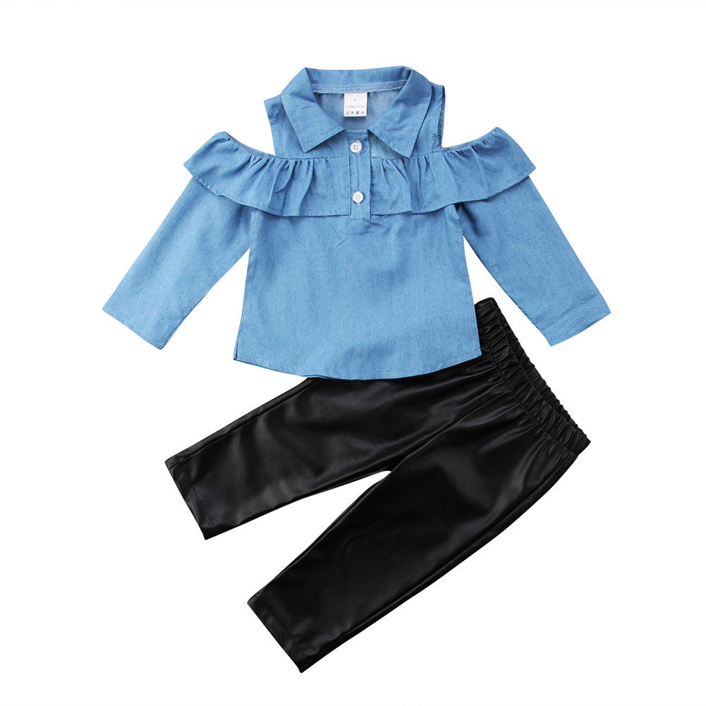 >2019 Fashion Toddler Kids Girls Tops Shirt Skinny <font><b>Leather</b></font> <font><b>Pants</b></font> <font><b>Outfits</b></font> Set Clothes