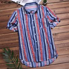 Men's Striped Floral Cotton Shirt Button PU27