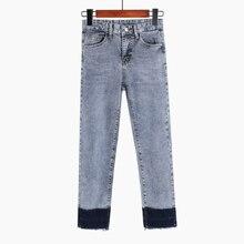 купить Spring Summer 2019 Women Straight Denim Pants Blue High Waist Jeans Woman Casual Vintage Boyfriend Jeans по цене 1679.08 рублей