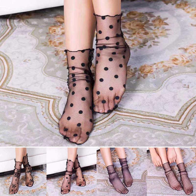 ใหม่มาถึงผู้หญิง Ruffle Fishnet ข้อเท้าถุงเท้าสูงตาข่ายลูกไม้สุทธิสั้นถุงเท้าเซ็กซี่ปักถุงเท้า