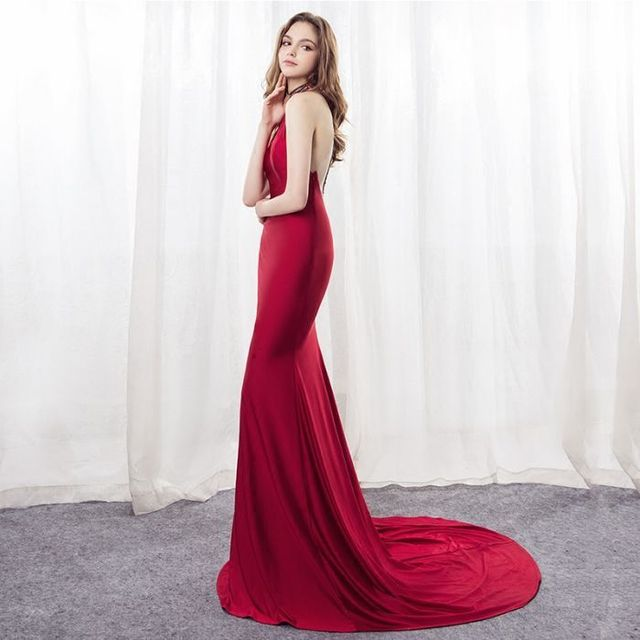Backlakegirls Elegant Halter Red Mermaid Evening Dress 2018 Court Train Hot  Sale Time Limited Discount Fromal Evening Prom Gowns 29333f9ae4ca