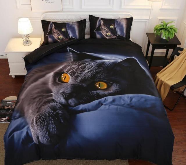3D Постельное белье с принтом черного кота хлопок Пододеяльник Установить реалистичные постельное белье с наволочкой кровать застежки для простыни набор домашнего текстиля