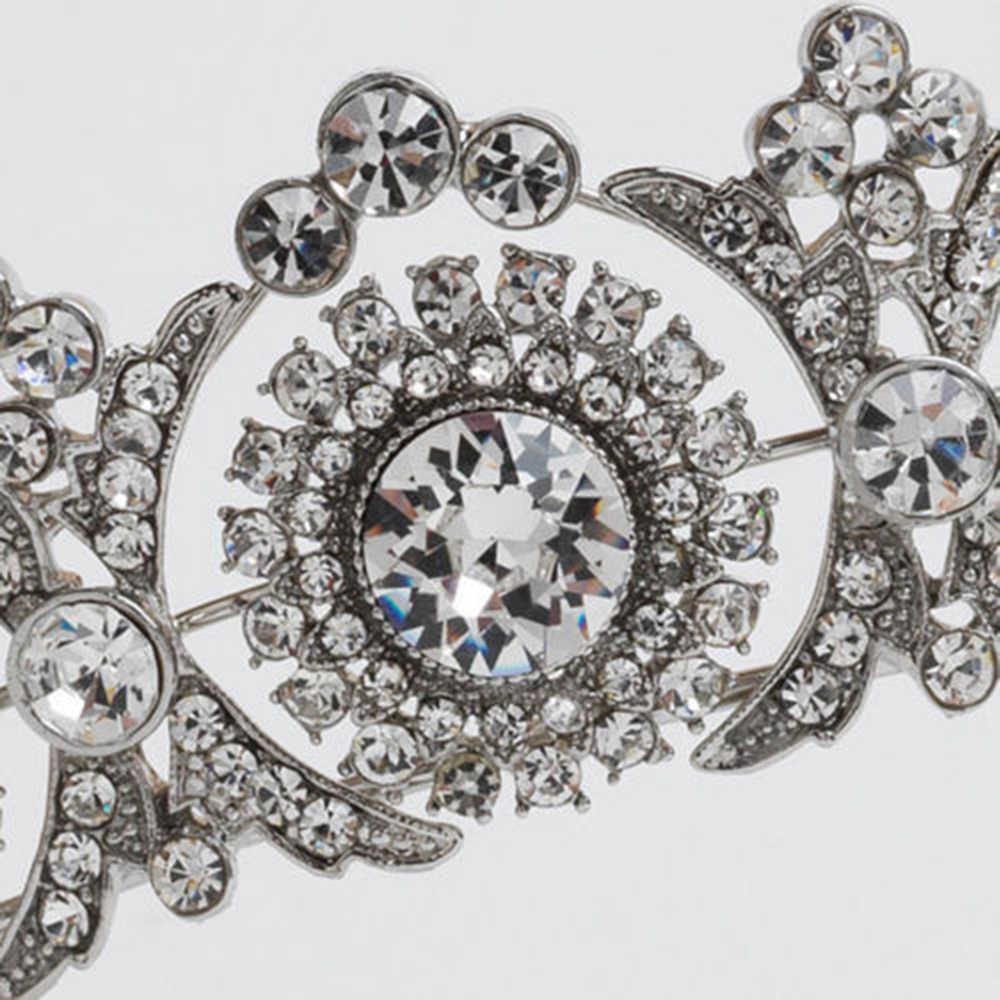 Tiara de princesa Vintage de moda corona de boda de diamante de imitación accesorio de pelo nupcial de plata 1 Uds