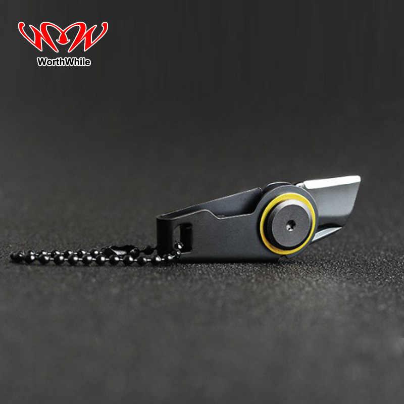 Mini couteau à glissière créatif utile outil de survie en plein air Portable outil de secours pliable en acier inoxydable EDC porte-clés