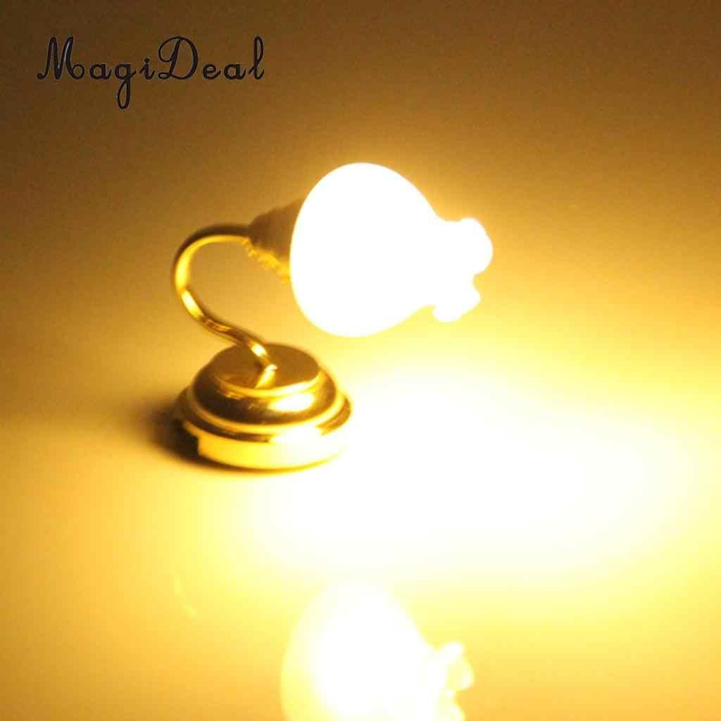 Altın kaplama çiçek Metal 1:12 evcilik minyatür LED duvar lamba ışığı modeli bebek evi yatak odası mobilyası dekor Acc