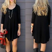 3596291f99d Женские Модные миди платье с длинным рукавом Свободные повседневные платья  шорты платье-рубашка Простой с