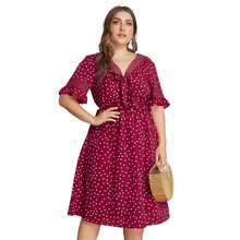 цены на Summer Plus Size Women Dress Boho Casual Butterfly Sleeve Bow Neck Dresses Sexy Hollow Out Dress Dot Vintage Elegant Midi Dress  в интернет-магазинах