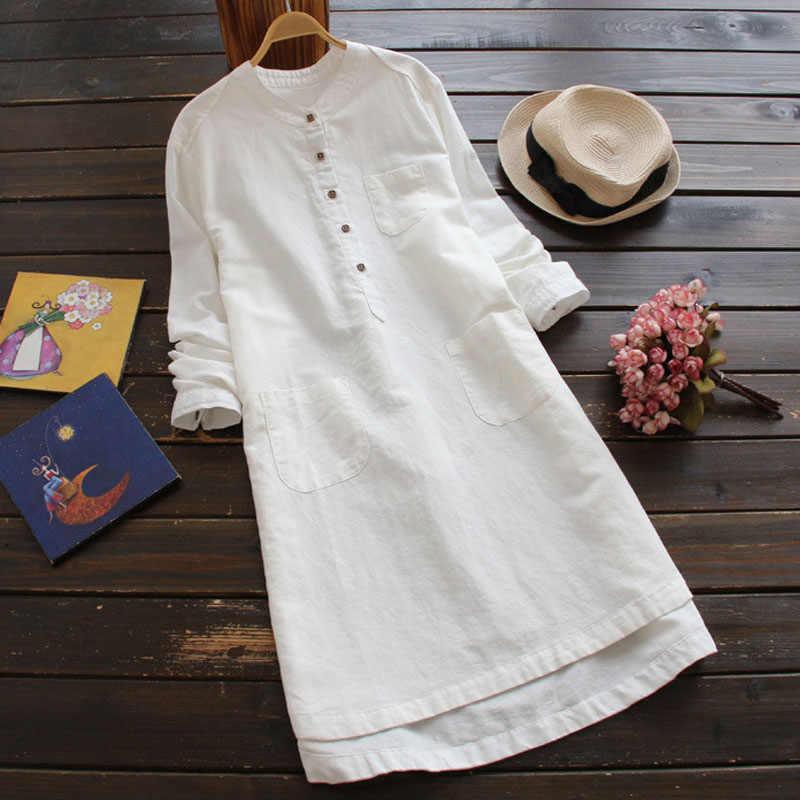 ZANZEA женское винтажное однотонное мини-платье с длинными рукавами 2019 Осенняя хлопковая льняная рубашка Vestido Повседневный длинный Топ Blusas Robe Femininas