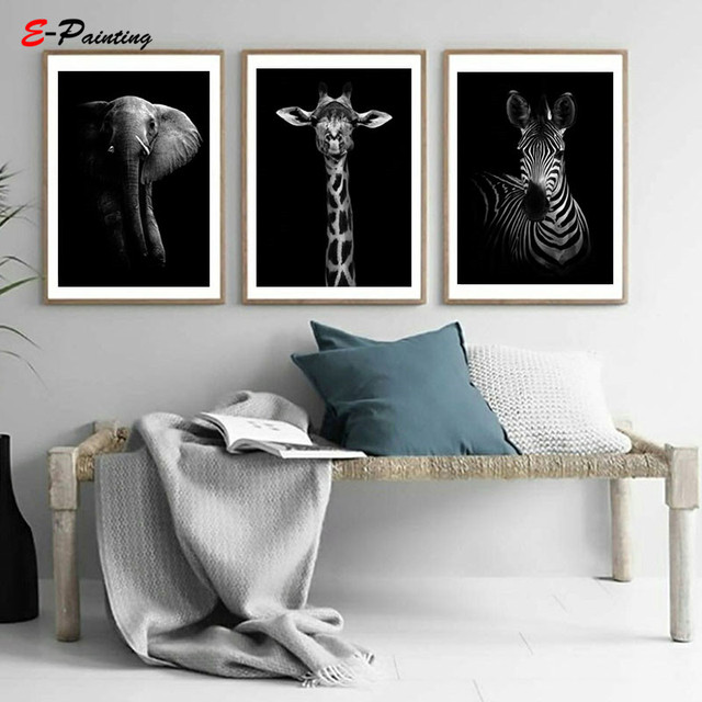 Black and White Animal Photography Elephant Print Posters Modern Liviving Room Wall Art Canvas Painting Home Decor