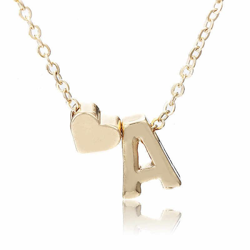 Złota nazwa początkowa naszyjnik kobiety złota litera naszyjniki serce naszyjnik łańcuch Chokers naszyjnik dla dziewczyny najlepszy prezent urodzinowy