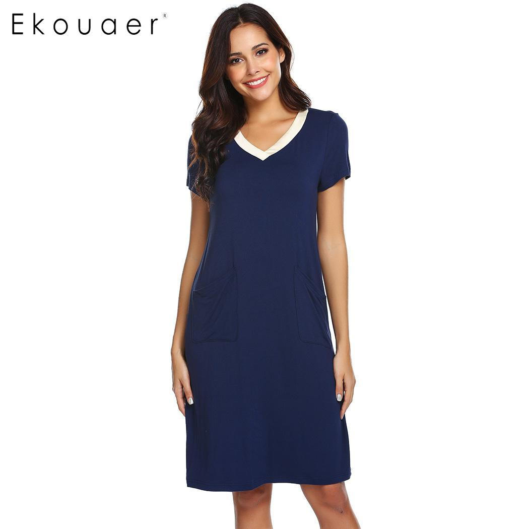 Ekouaer Women   Nightgown   Chemise   Sleepshirts   Sleepwear V-Neck Short Sleeve Loose Nightwear Casual Sleeping Dress Drop Shipping