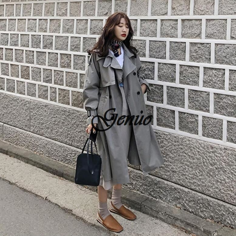 Korean style women casual loose   trench   with sashes 2019 new arrival spring long elegant coats ladies Overcoat Outerwear