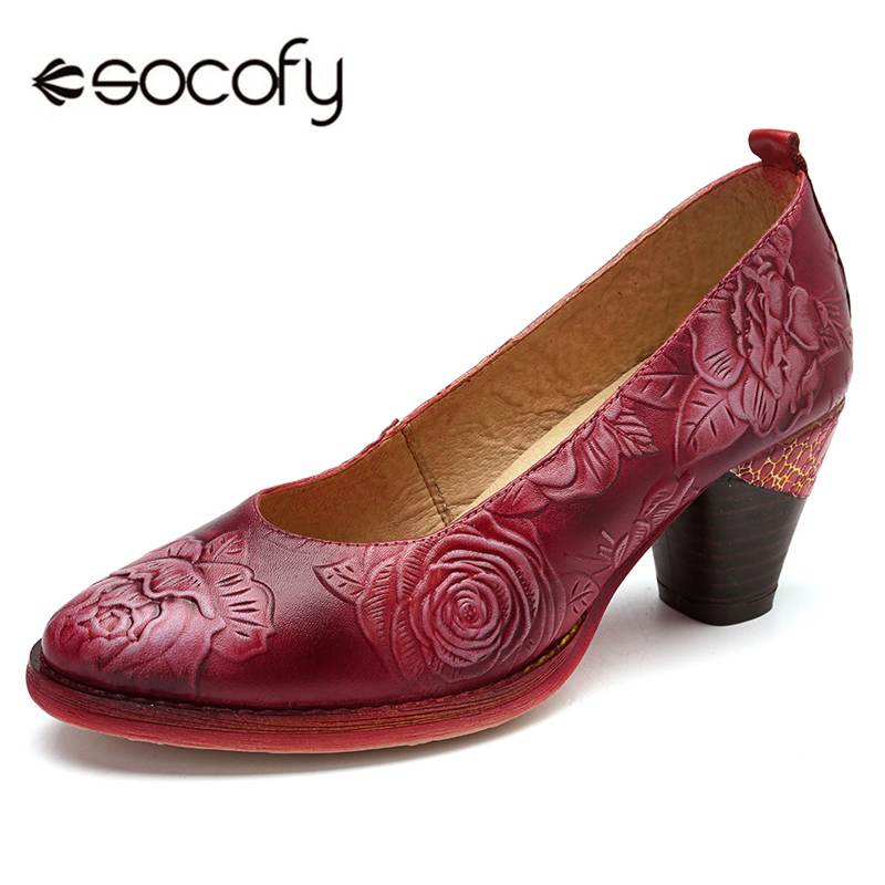 Socofy Vintage Flower Embossed Pumps Women Red Genuine Leather Shoes Woman Block High Heel Pumps Women Retro Ladies Shoes New
