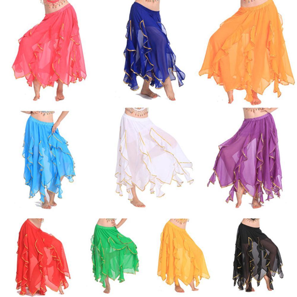 Belly Dancing Chiffon Soft Expansion Skirt Women Lace Golden Hemline Dance Clothing Practice Performance Dance Costume Wear