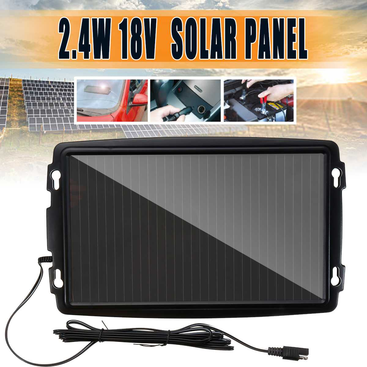 Portable Silicon Battery Charging 18V 2.4W Solar Panel Trickle Charger For Boat Car Vehicle Detachable Amorphous Outdoor PowerPortable Silicon Battery Charging 18V 2.4W Solar Panel Trickle Charger For Boat Car Vehicle Detachable Amorphous Outdoor Power