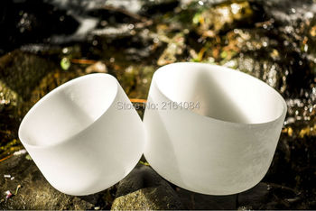 """432 Hz 12"""" Note C/D/E/F/G/A/B Chakra Frosted Quartz Crystal Singing Bowl with free suede and o ring"""