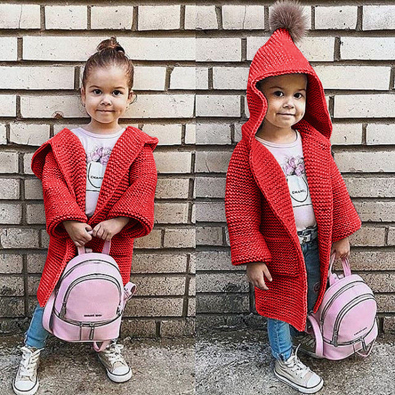 Kids Hooded Cardigan Baby Girls Long Sleeve Loose Sweater Coat Children Solid Knitted Clothes