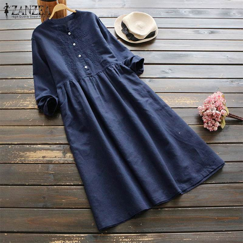 2019 Plus Size ZANZEA Spring Women Casual Long Sleeve Vintage Embroidery Cotton Linen Loose Party Long Shirt Dress Vestidos 4