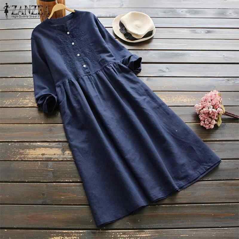 2019 плюс размер ZANZEA осеннее винтажное длинное платье-рубашка с вышивкой женское Повседневное платье с длинными рукавами из хлопка и льна свободные вечерние платья