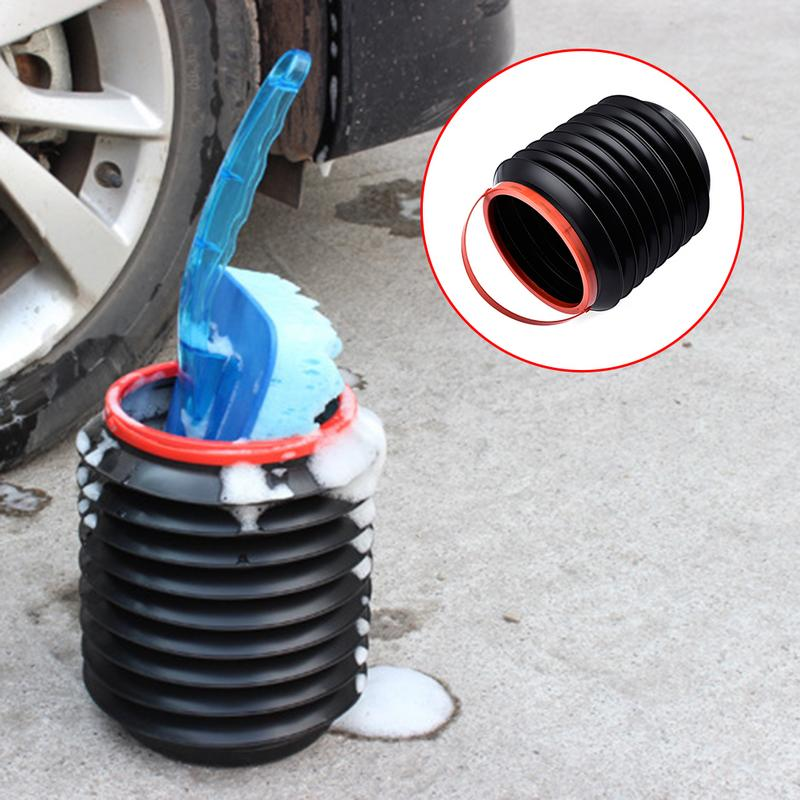 4L Car Bucket Folding Telescopic Water Storage Box Trash Container Black Red