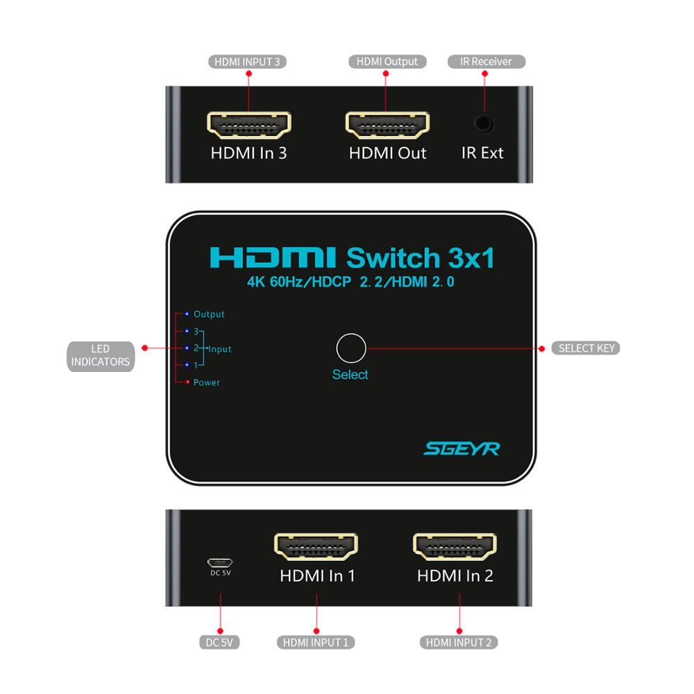 HDMI Switch 3x1 3 Port HDMI 2 0 Switcher SGEYR Switch 4K Ultra HD 4K 60Hz HDR 4 4 4 HDCP 2 2 Switch with IR Remote Switches in HDMI Cables from Consumer Electronics