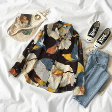 Цветочный отложной воротник женские топы и блузки осенние свободные женские повседневные кимоно с длинным рукавом шифоновый рубашки блузки Mujer