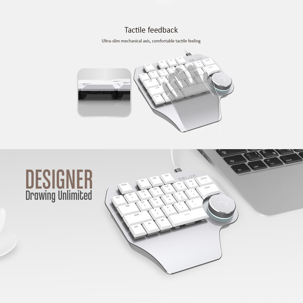 Image 2 - Delux T11 Designer Keyboard Keypad with Smart Dial 3 Group Customized Keys for Windows Mac OS & Design Software For PC Laptop-in Keyboards from Computer & Office