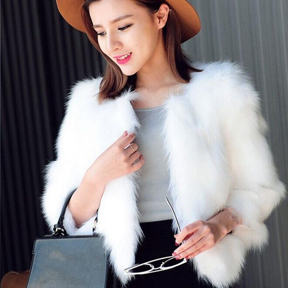 Solid O-Neck Short Style Women Faux Fur Coat Long Sleeve Warm Winter Jacket Women Elegant Outerwear Casual Faux Fur Coat
