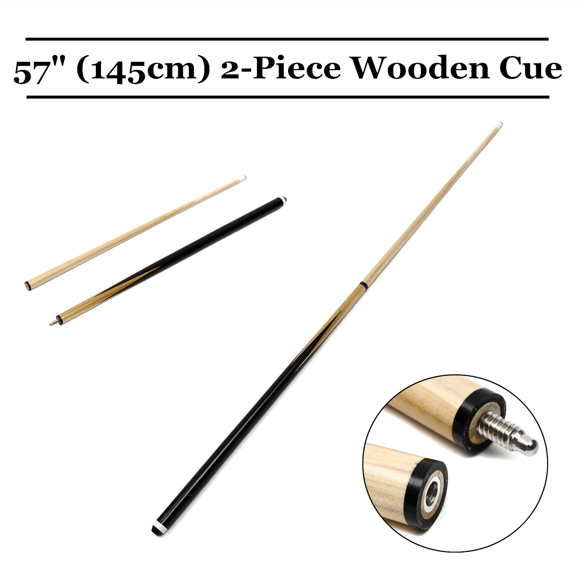 1Pcs Wooden 145cm 1/2 Structure Pool Cue Billiard House Bar Pool Cue Sticks Entertainment Snooker Accessories Billiard Tools