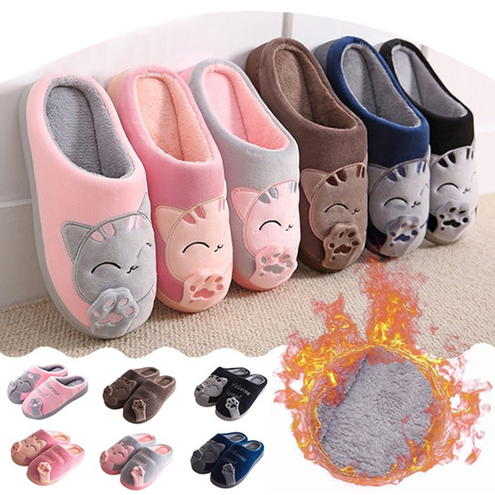 Hot Women Winter Home Slippers Cartoon Cat Non-slip Warm Indoors Bedroom Floor Shoes Plush Slippers Women Faux Fur Slides Flip
