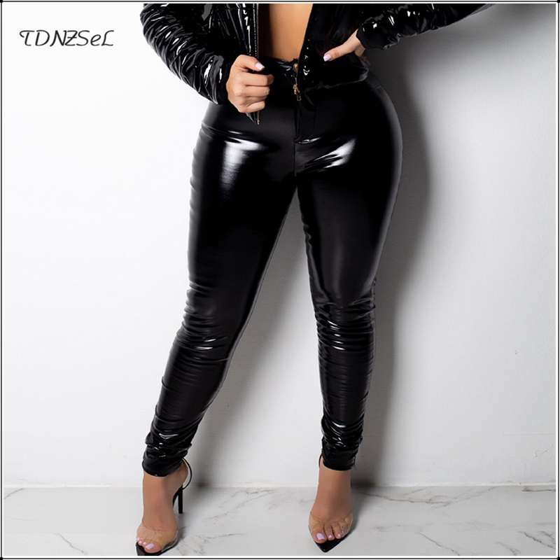 Sexy Women PU Leather Skinny Pants High Waist Solid Color Package Hip Pencil Trousers PVC Bodycon Slim Long Capris Nightclub New