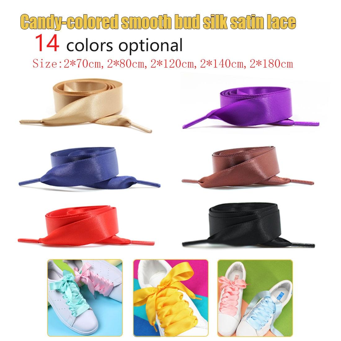1Pair 2CM Wide Satin Silk Ribbon Shoelaces 70CM/80CM/120CM/140CM/180CM Flat Satin Ribbon Children Kids Shoelaces Shoe Laces