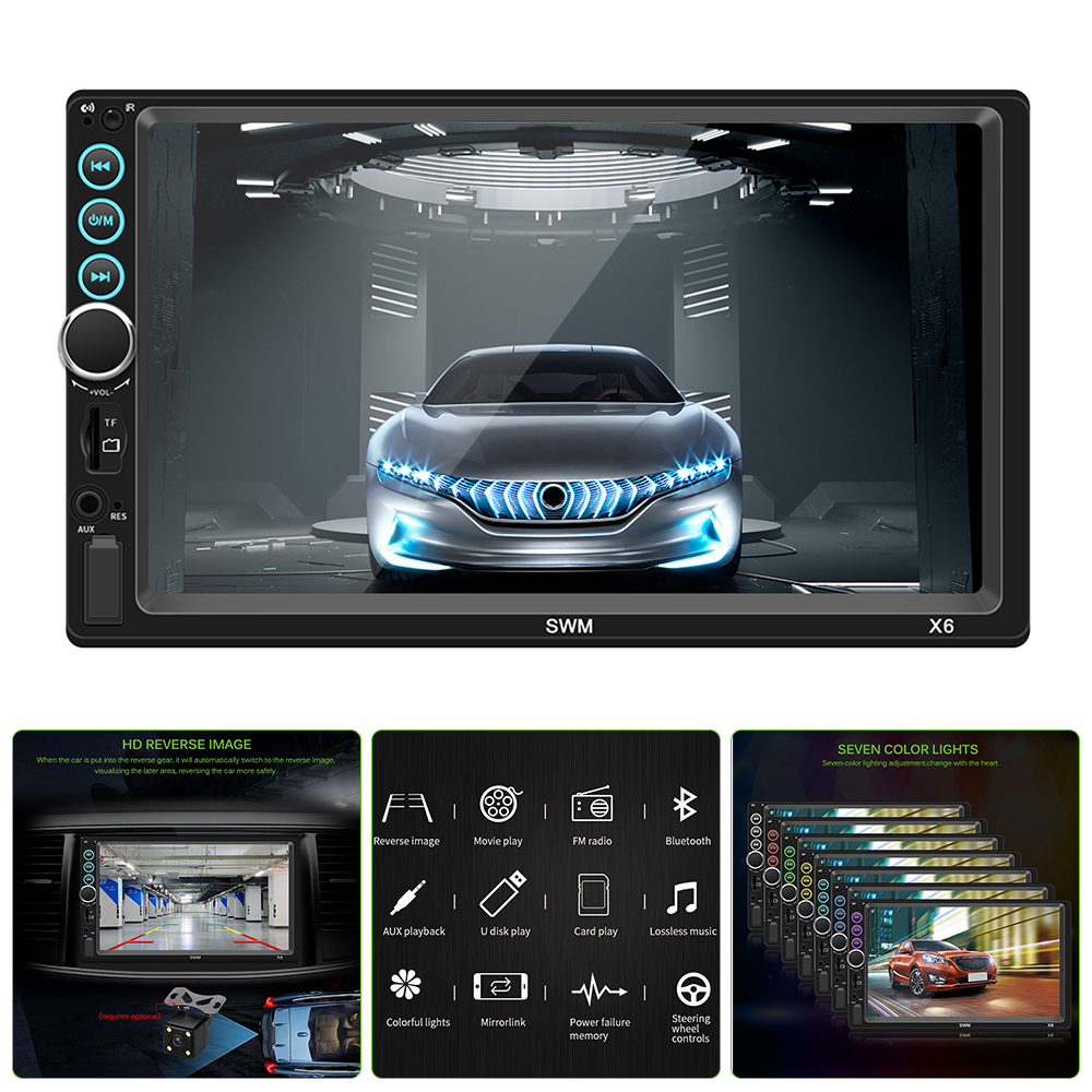 Bluetooth Car Player Support  7 Inch Screen LED Light Stereo Audio Player for Steering Wheel Control Reverse Image