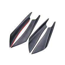4pcs Car Bumper Splitter Fins Lip Canards Trim Kit Carbon fiber Color ABS plastic