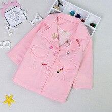 Шерстяное пальто для девочек в Корейском стиле, длинное розовое детское шерстяное пальто