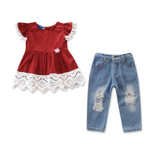 VTOM Children Sets Fashion Toddler Kids Clothing Suits Baby Girls Short Sleeve Tops + Jean Denim Pants 2PCS Outfit  Kids Clothes стоимость