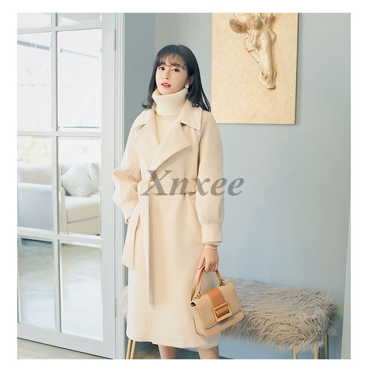 Plus size loose warm wool blends long winter coat turn down collar adjustable belt wool coats