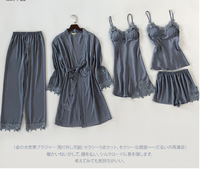 Women Sexy Lace Kimono Gown Satin Solid Robes Nightwear Elegant Rayon Female Sleepwear Pajamas