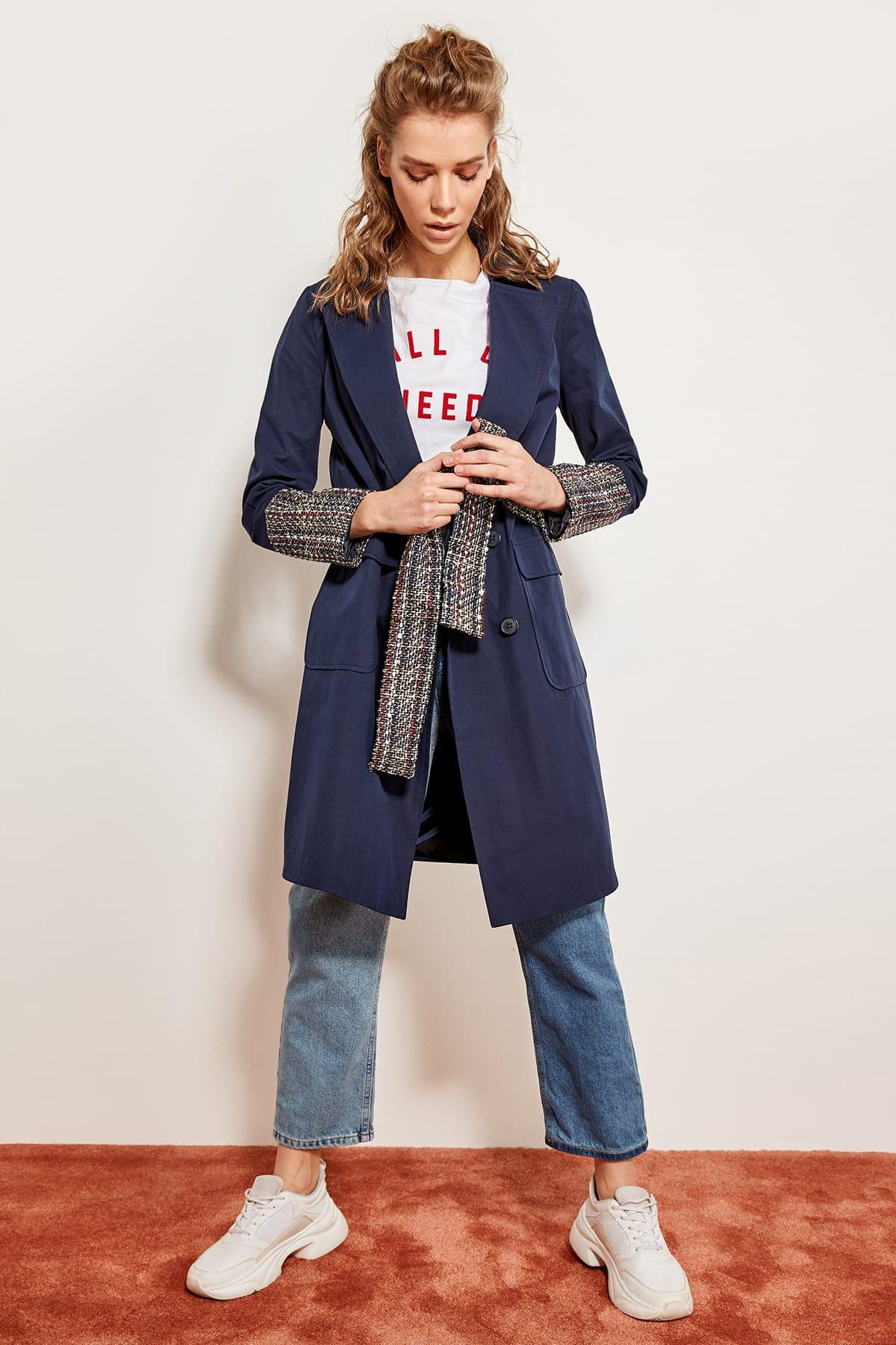 TRENDYOLM?LLA Navy Blue Arched Handles Tweed Trench Coat TCLSS19EH0036