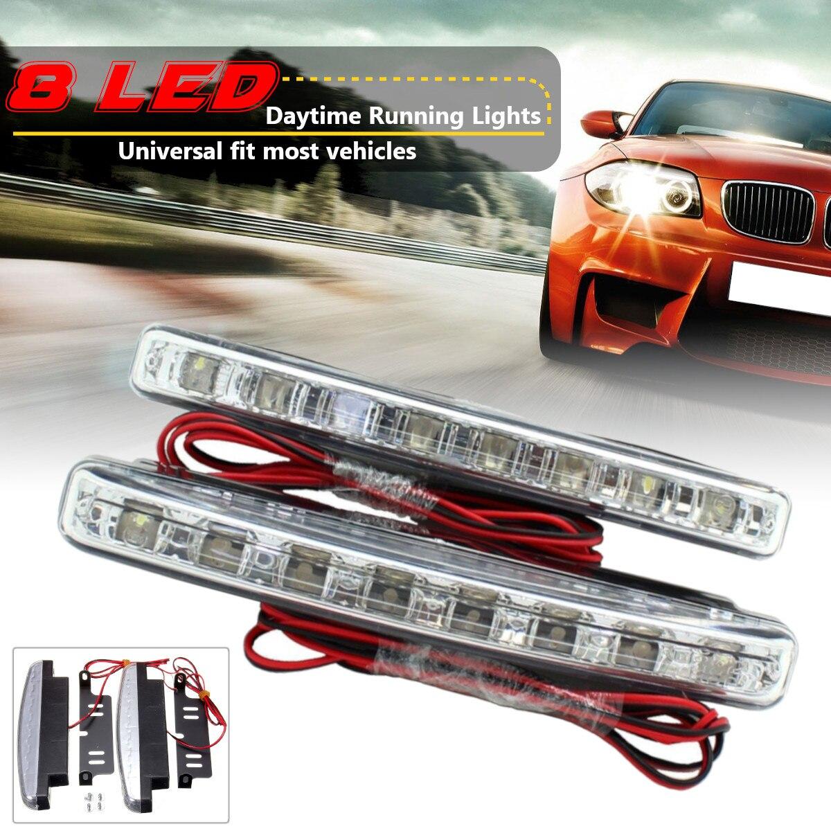 2pcs Universal 6000K 8LEDs Car LED Daytime Running Light DRL Fog font b Lamp b font