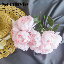 Peony Bouquet Artificial Peony Fabric White Flowers Bridal Bouquet Fake Flower Bouquet Wedding Decoration Flowers artificial peony flower bouquet fake flower diy bridal bouquet european style simulation peony bouquet wedding home decoration