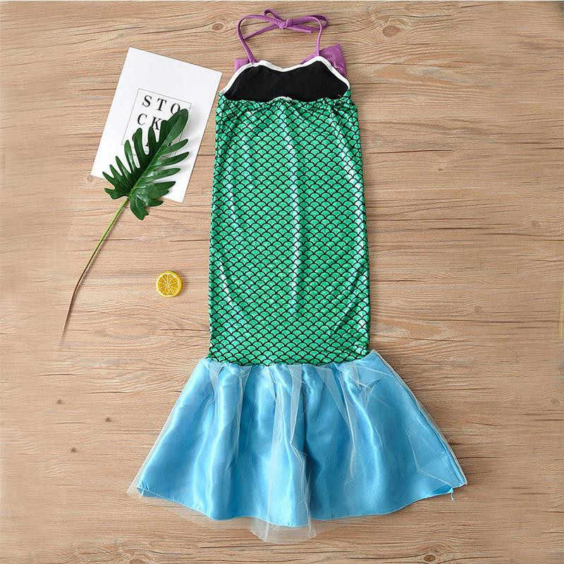 Princess Fancy Kids Girls  Ariel Sequin Dress Little Mermaid Dresses Party Cosplay Costume Outfits  4-12Years Children Clothing
