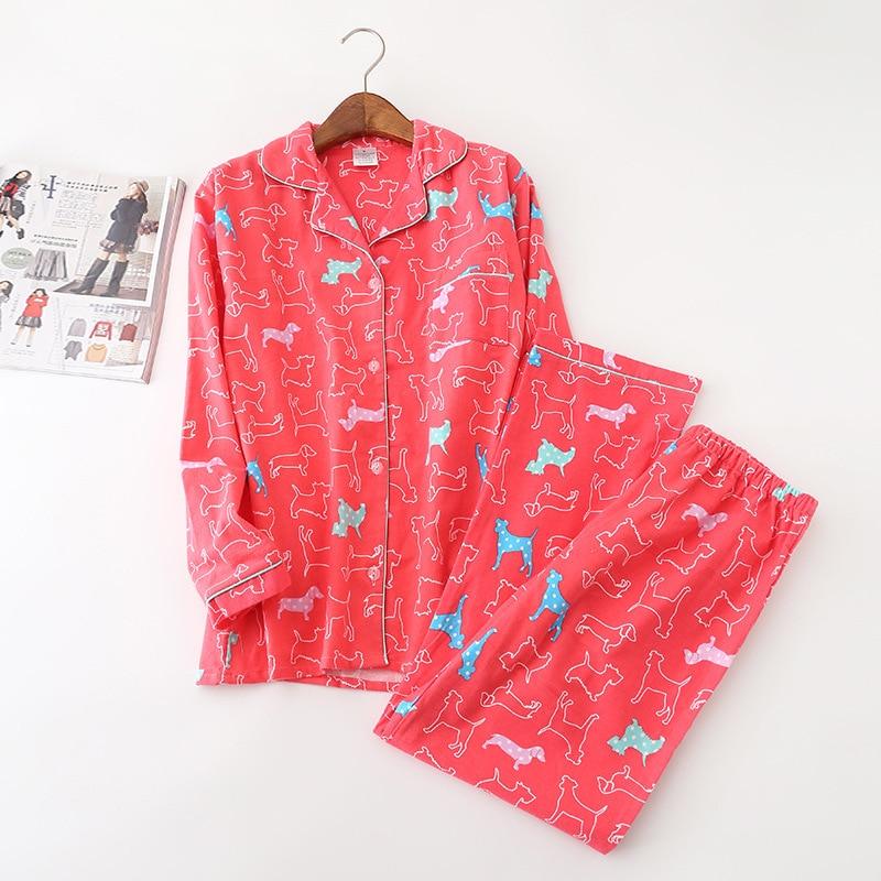 Red Ladies Spring Cotton Grinding Woolen Cloth Pyjamas Women Long Sleeve Cartoon Pijama Mujer Full Length Pajama Set Sleepwear